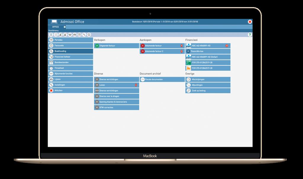 Een screenshot van Admisol Office